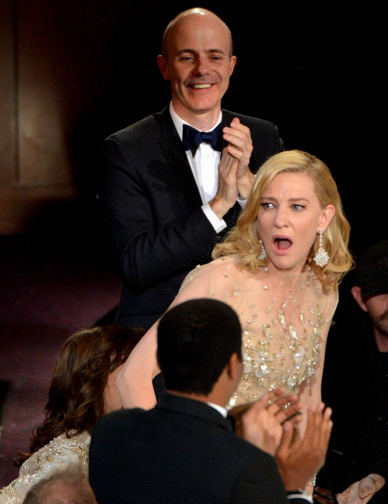 "Cate Blanchett reacts after winning the award for best actress in a leading role for ""Blue Jasmine"""