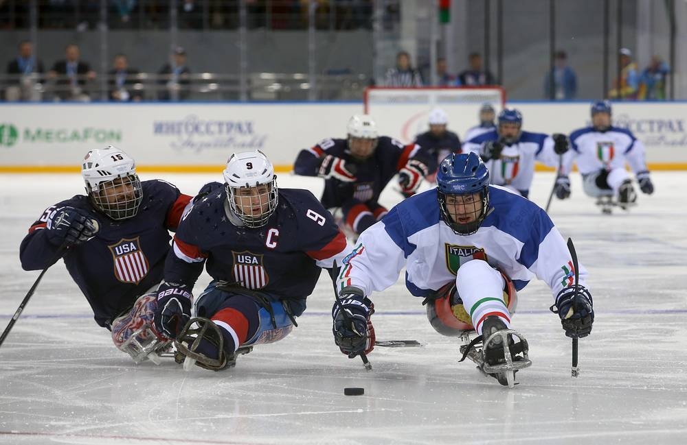 Ice Sledge Hockey match between national teams of the USA and Italy