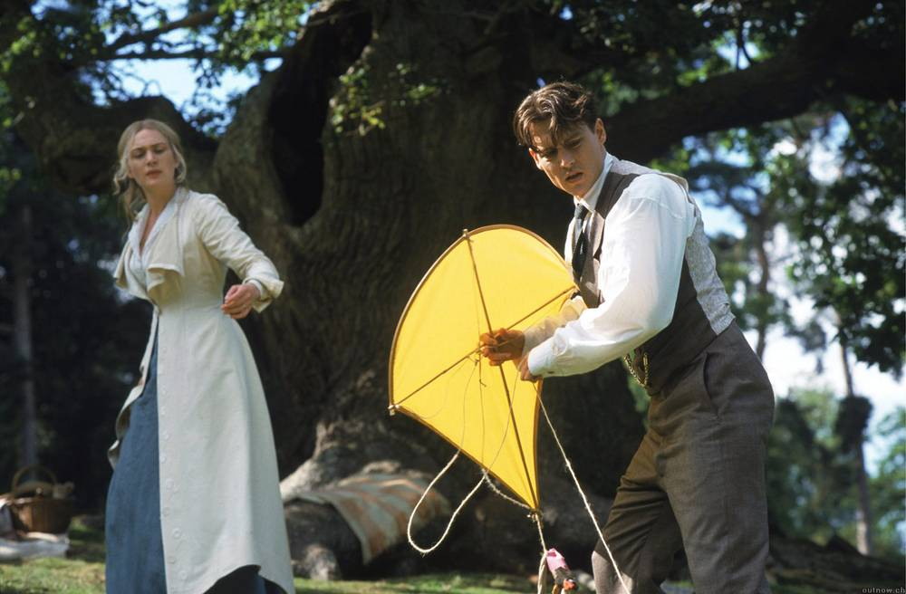 Johnny Depp and Kate Winslet in a scene from 'Finding Neverland'