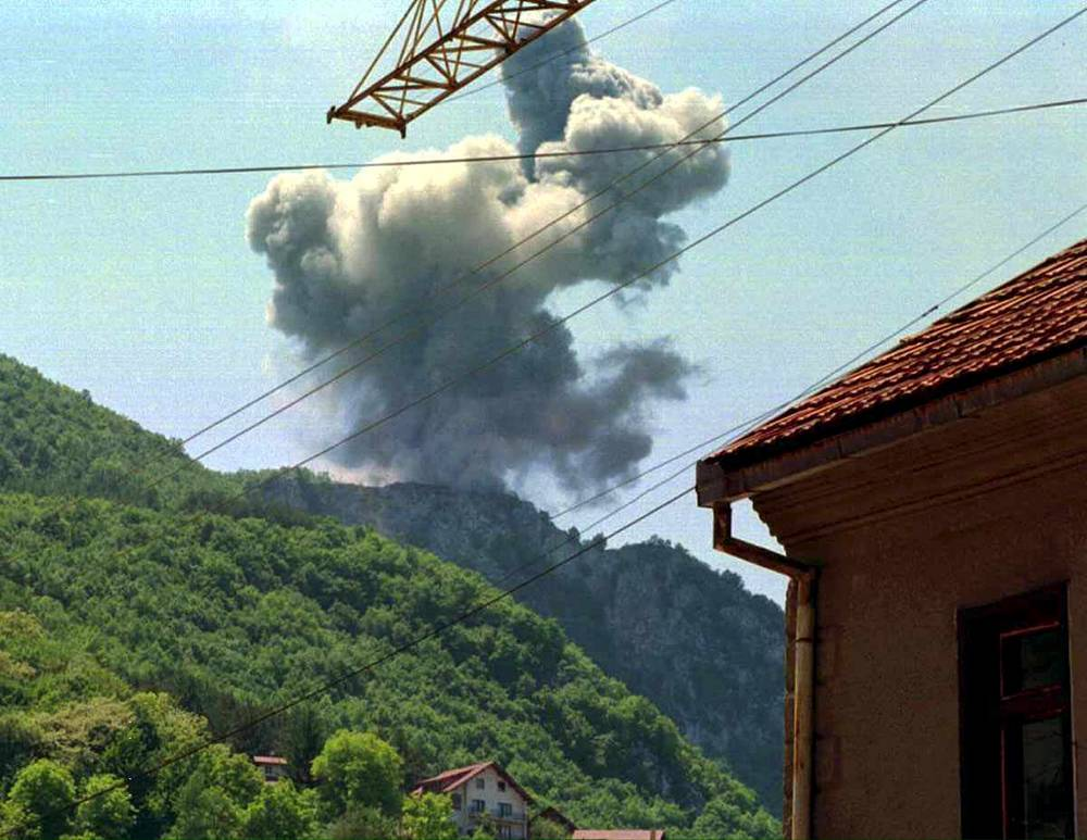 A cloud of smoke rises over Uzice, some 200 km south-west of Belgrade, after NATO hit a telecommunication antenna