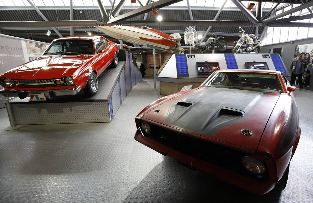 Ford Mustang Mach 1 from Diamonds Are Forever (1971) and AMC Hornet from The Man with the Golden Gun (1974)