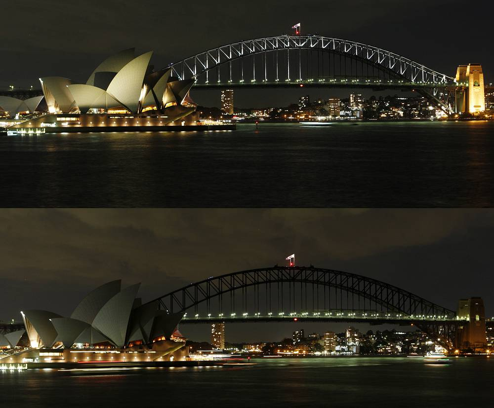 Sydney Harbor Bridge and Sydney Opera House illuminated by lights top, then seen with the lights turned off