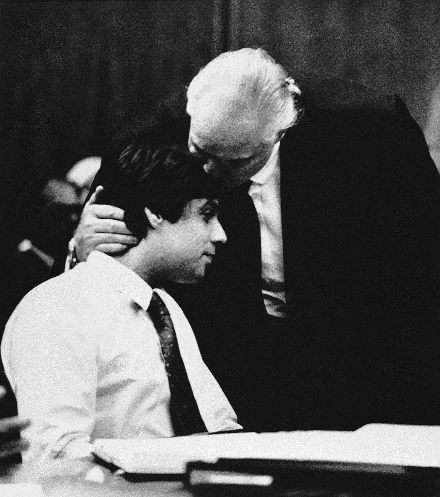 The actor's eldest son was convicted for the murder of his sister's friend in 1990. Photo: Marlon Brando with his son Christian in court, 1990