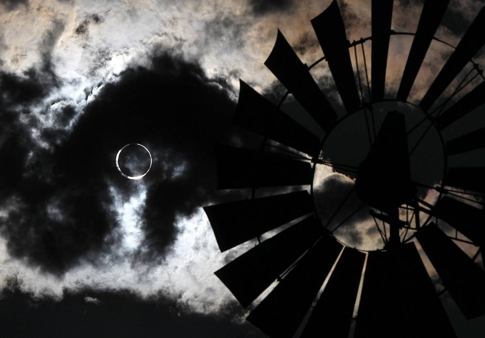 Solar eclipse seen during a thunderstorm in Gardenville, USA in 2012