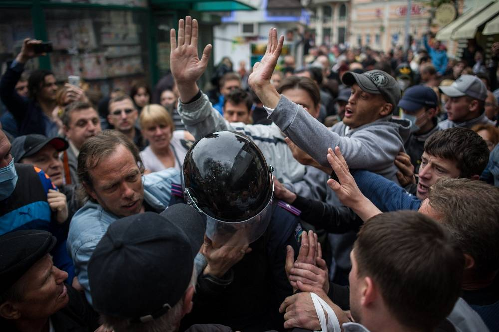 During the release of part of the detained Ukraine's federalization supporters following clashes in Odessa