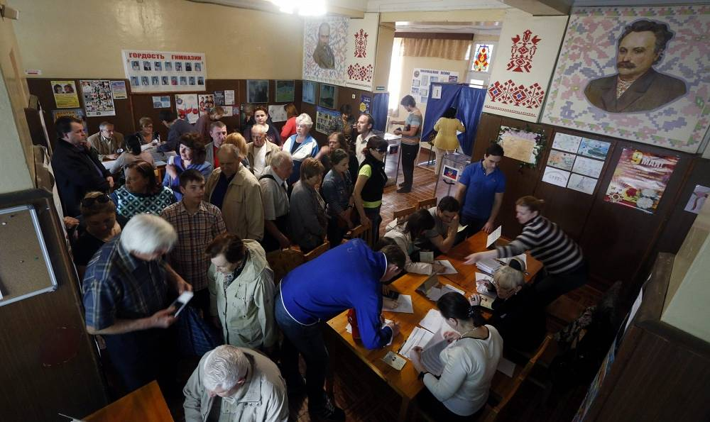 At a polling station in Donetsk