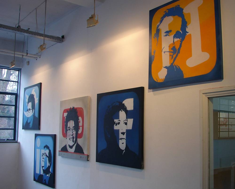 Portraits of social network founders: Mark Zuckerberg (Facebook), Jack Dorsey (Twitter), Steve Chen (YouTube), Reid Garrett Hoffman (LinkedIn), Raymond Spanjar (Dutch social network Hyves) in Kunstenlab gallery in the Netherlands
