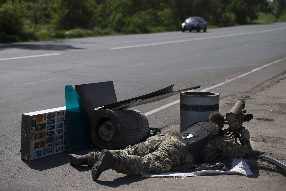 Militia fighter near Sloviansk