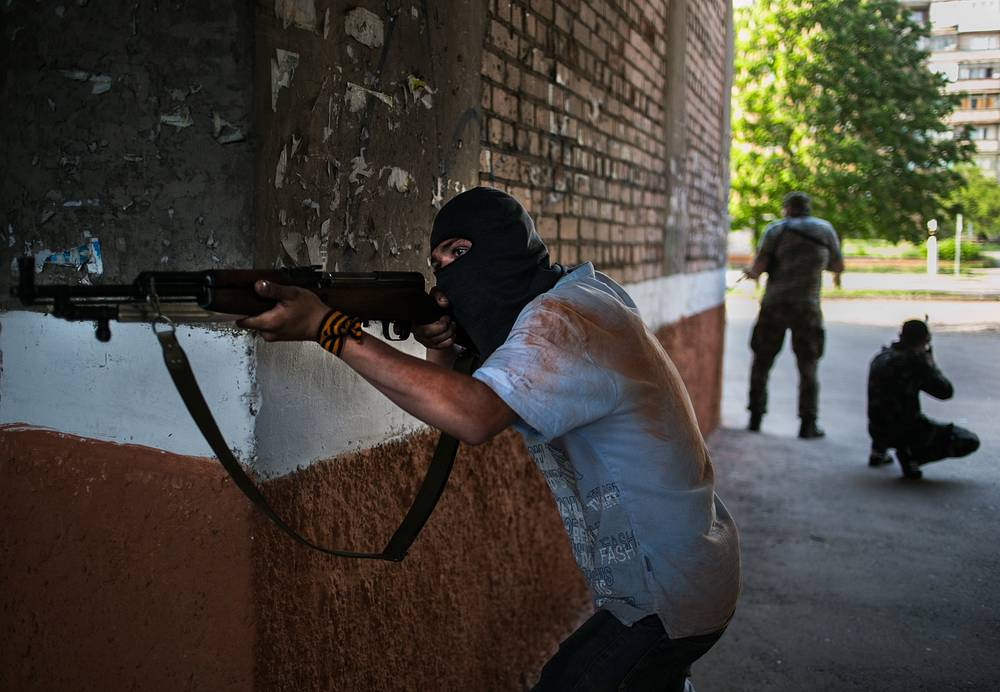 Donbass militia members during the attack of the Ukrainian armed forces