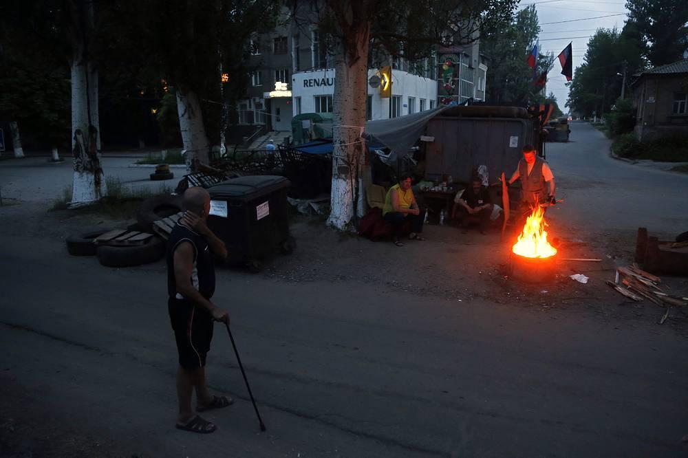 A barricade in Sloviansk