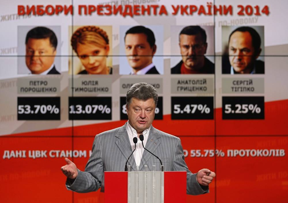After 94.12% of votes had been counted, Poroshenko was leading with 54.46%