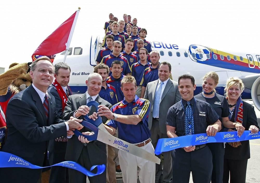 JetBlue Airways plane with members of US football team Real Salt Lake city
