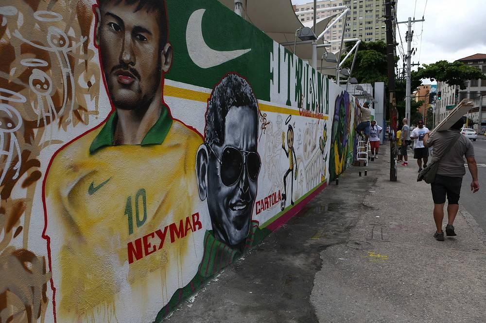 A mural showing Brazilian soccer team forward Neymar