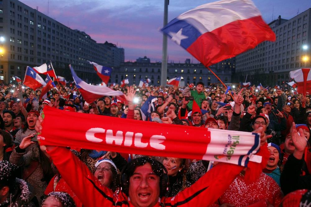 Chile supporters in the streets of Santiago