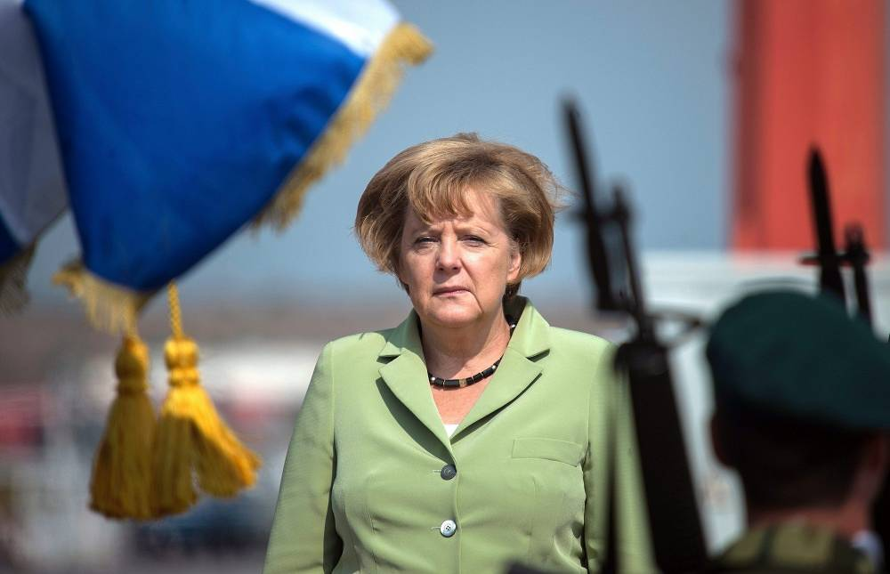 German Chancellor arrives at Athens airport in 2012