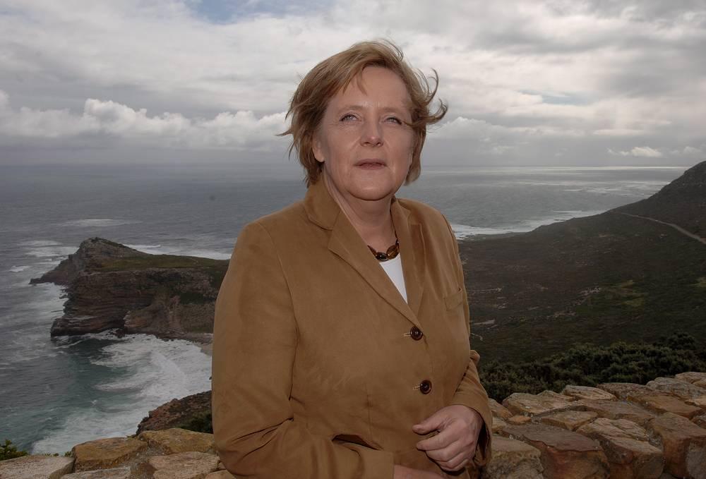 Angela Merkel in Cape Point, South Africa, in 2000