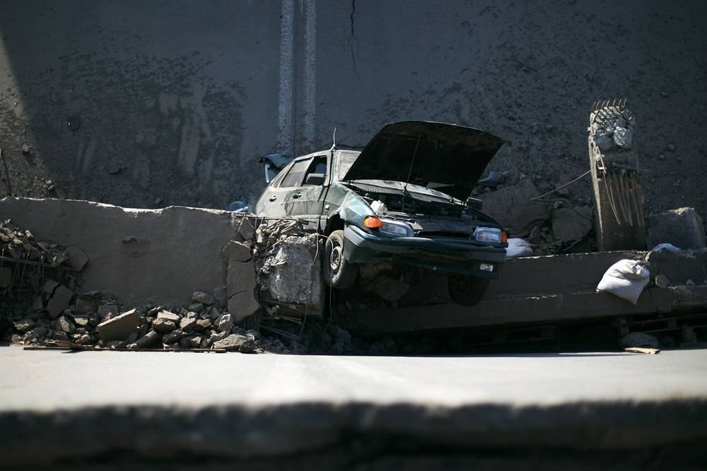 A motorway bridge blown up in a shelling attack by the Ukrainian government forces in the town of Horlivka near Donetsk