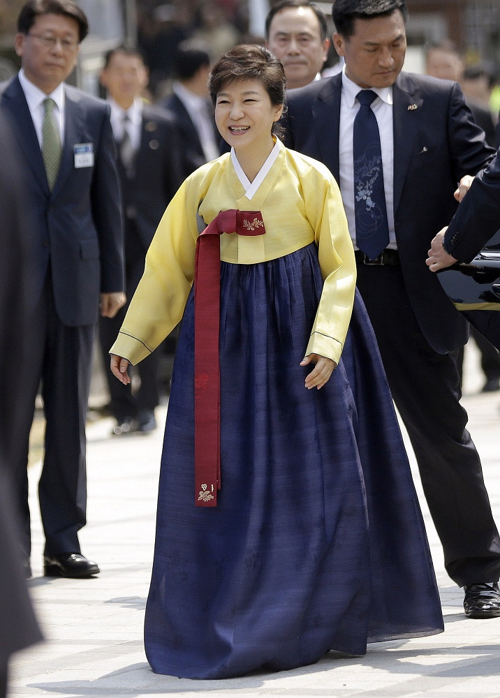 South Korean President Park Geun-hye wearing traditional dress