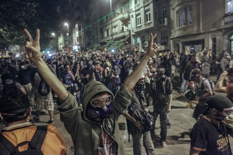 Protesters build barricades near Taksim Square in Turkey's Istanbul, 2013