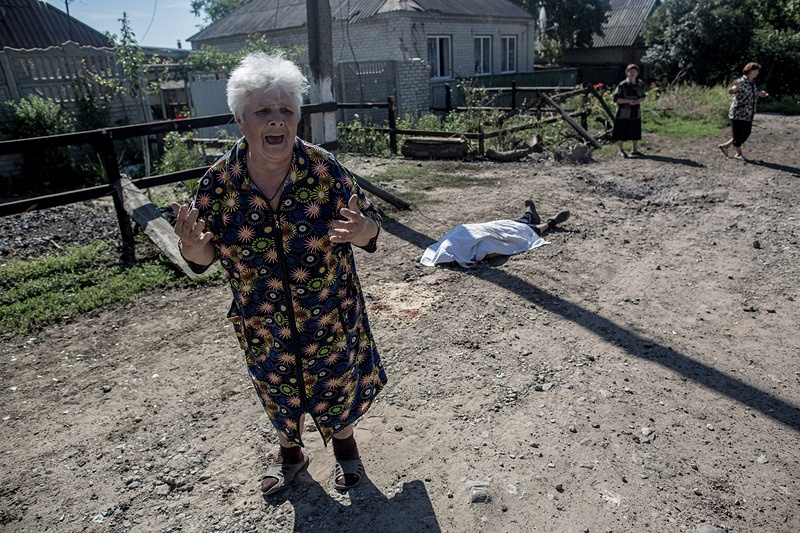 Consequences of a shelling attack on Sloviansk, eastern Ukraine, 2014