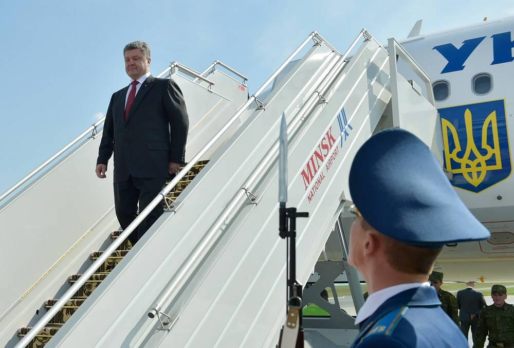 Ukrainian President Petro Poroshenko arrives in Minsk