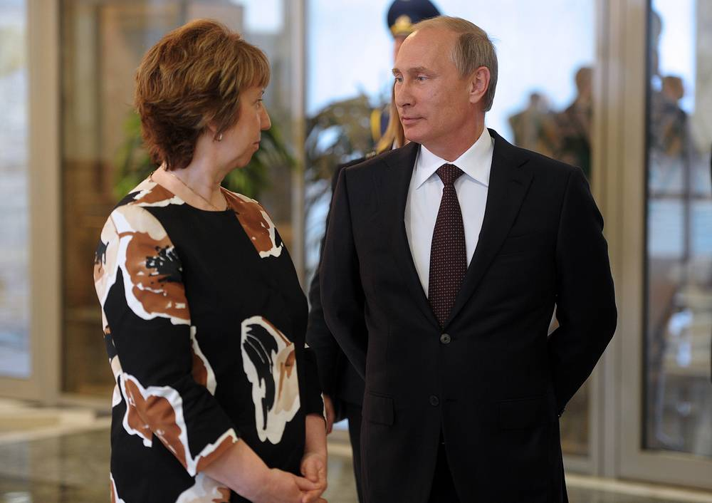 Russian President Vladimir Putin and European Union High Representative for Foreign Affairs and Security Policy Catherine Ashton