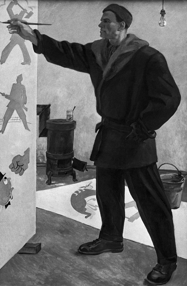 World-famous poet Vladimir Mayakovsky created from 400 to 500 posters, and wrote 90% of captions to ROSTA posters. Photo: 'Vladimir Mayakovsky at ROSTA' by artist Aleksandr Deyneka