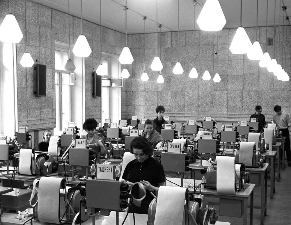 Telegraph instrument room of All-Soviet Union communication at TASS, 1967