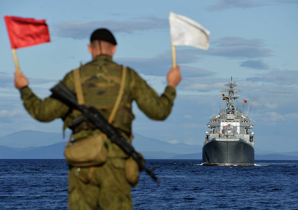 The Admiral Nevelskoi major amphibious ship seen during the snap check