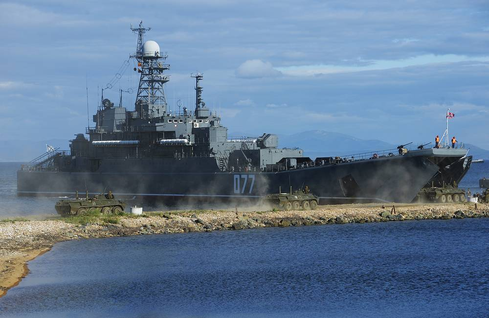 A major amphibious ship seen during the snap check