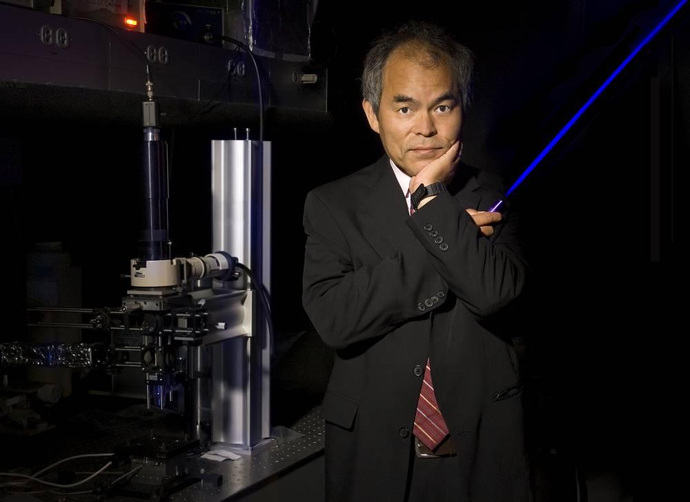 Photo: professor Shuji Nakamura with a Blue Laser-LED, Santa Barbara, California, USA, 07 October 2014