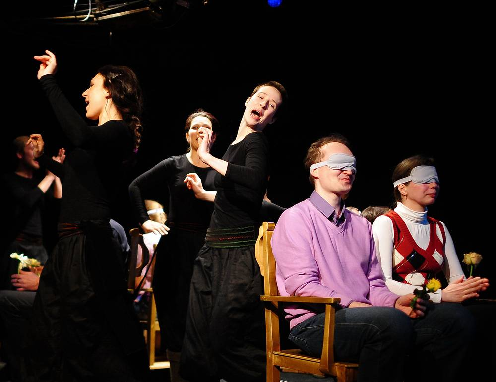 Photo: The premiere of a 4D stage production of Nikolai Gogol's May Night, at Moscow Puppet Theatre, Moscow April 24, 2013. The production was intended both for the blind and for sighted people, with the audience following the performance non-visually through touch, smell, sound and taste.