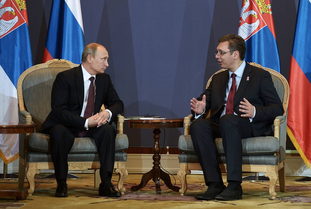 Photo: Russia's president Vladimir Putin and Serbia's prime minister Aleksandar Vucic at a meeting, Belgrade, Serbia, 16 October 2014