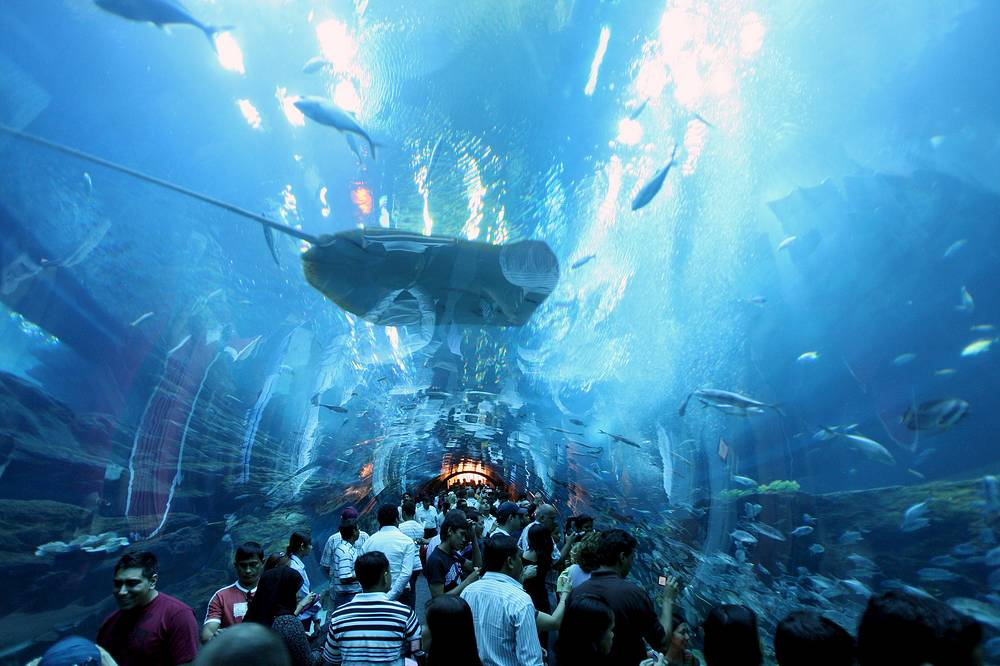 The Dubai Mall in United Arab Emirates has not only around 1,200 shops but also Dubai Aquarium and Discovery Centre. Its viewing panel withstands the pressure of 10 million litres of water and gives visitors clear view of the 33,000 marine animals on display. The Aquarium is free to all Dubai Mall visitors
