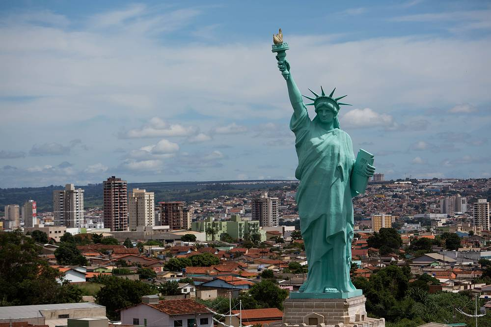 Replica of the Statue of Liberty can be seen in front of the city of Anapolis, 50 km from Brasilia, Goias, Brazil. The replica has a height of 35 meters and is located next to a department store, which uses the statue as a symbol of freedom of shopping and also as a tribute to the United States of America