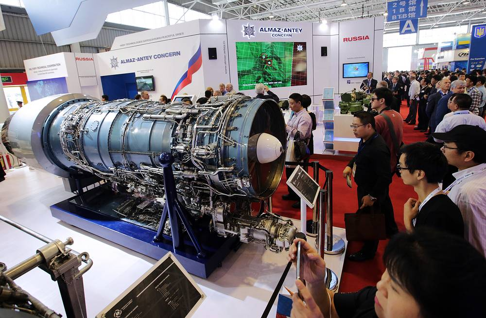 More than 120 jets and helicopters are put on display at static exposition. Photo: The United Engine Corporation's stand