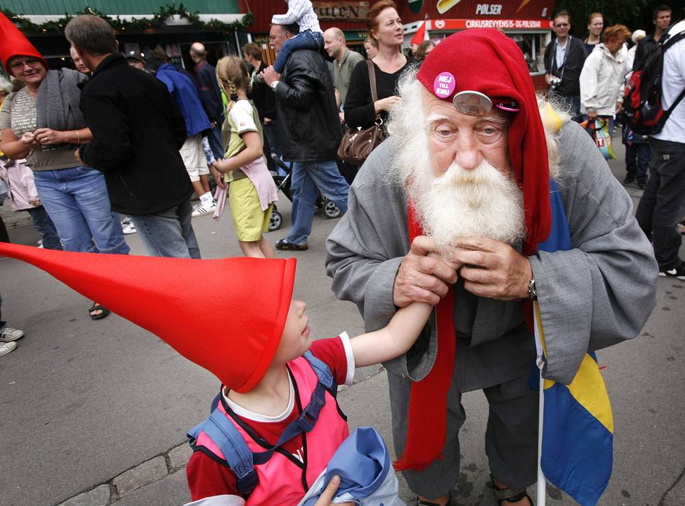 Photo: Santa Claus from Sweden at the annual Santa Congress at Bakken amusement park  Denmark. Santas from all over the world gather in Denmark every year to discuss such important matters as when to hold Christmas and how large to make the presents
