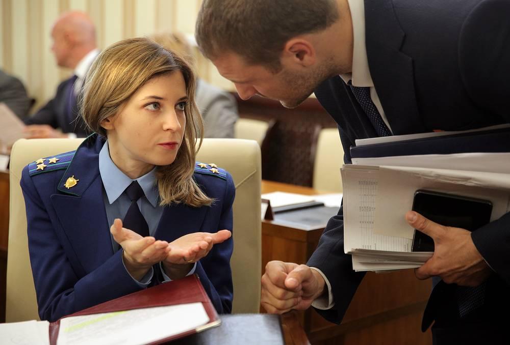 Crimean Prosecutor Natalia Poklonskaya attends a meeting of Crimea's State Council in Simferopol