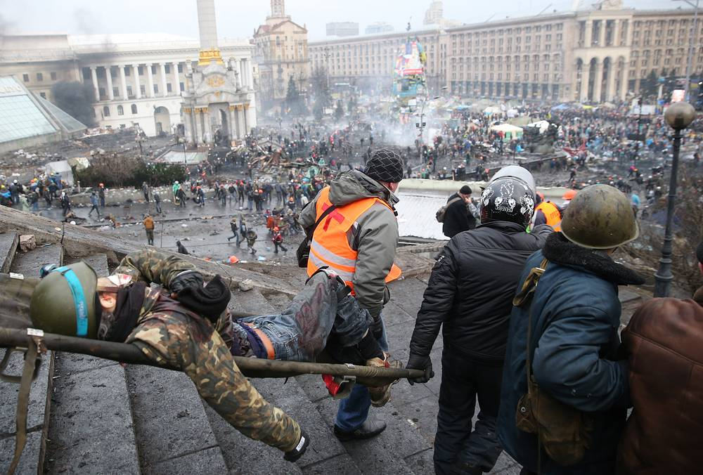 Man injured in street riots in Kiev