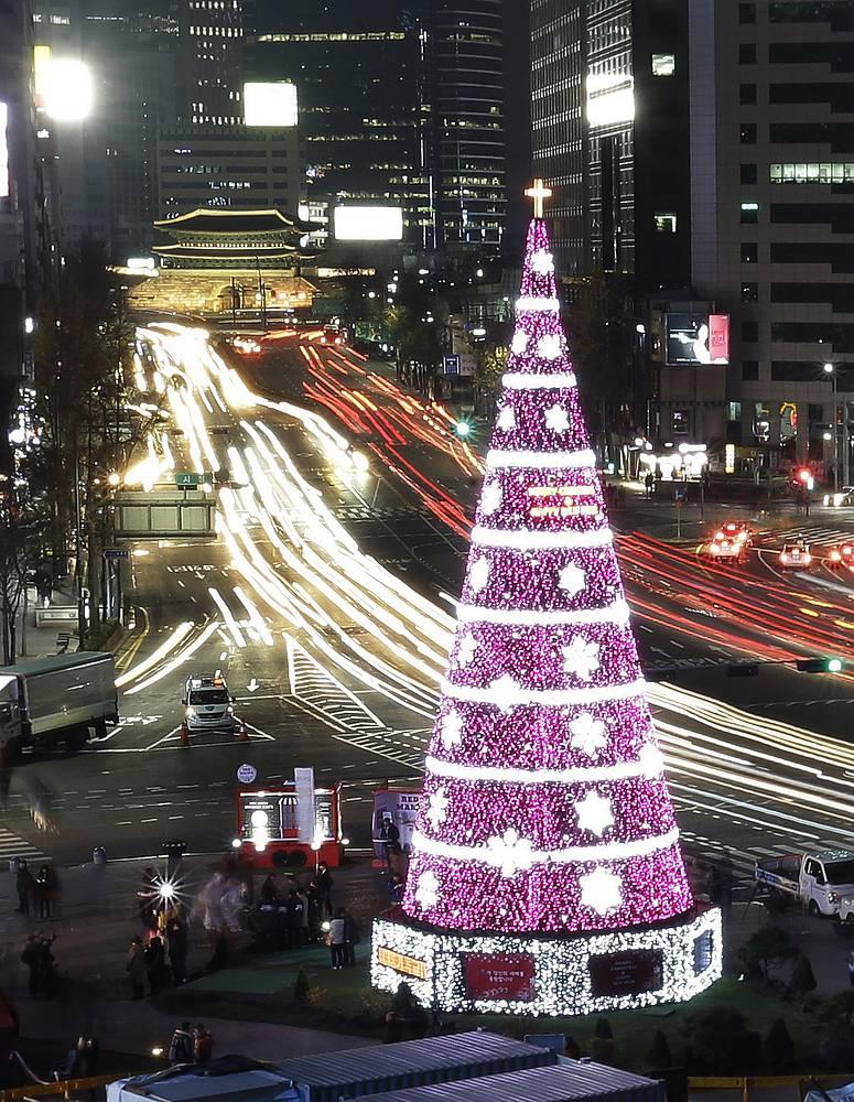21-meter high Christmas tree at Seoul City Hall Plaza, South Korea
