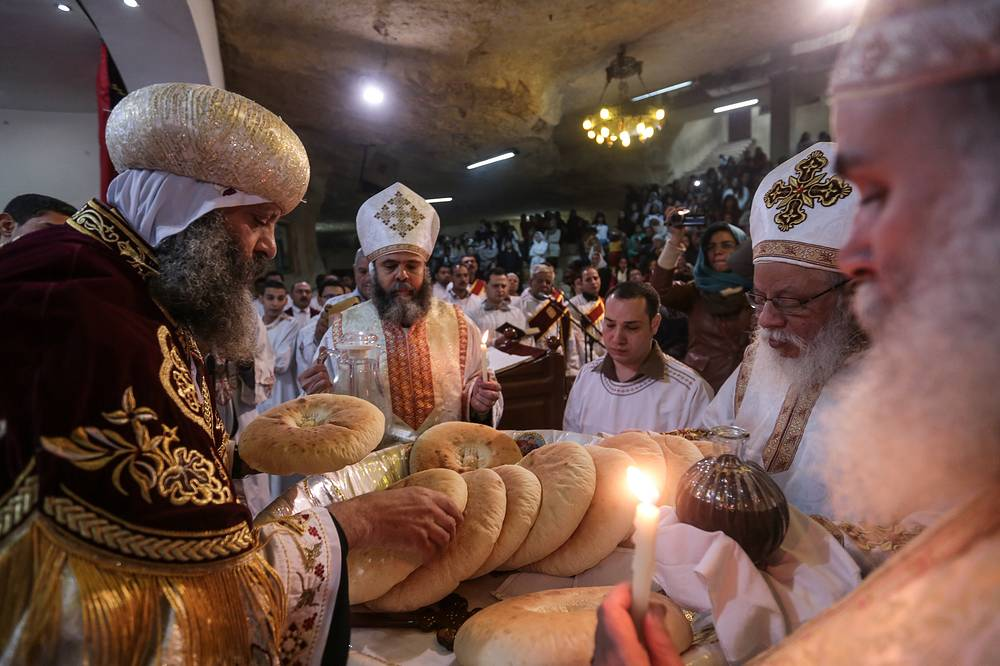 Orthodox Christmas Eve Mass in the Cave Cathedral or St. Sama'ans Church on the Mokattam hills overlooking Cairo, Egypt