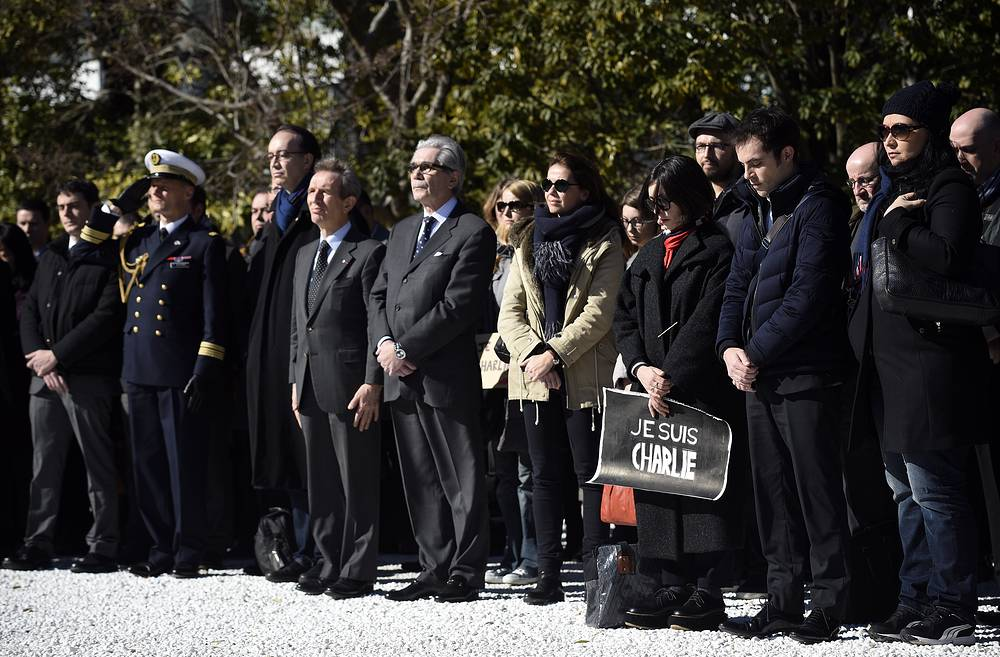 A gathering for the victims of the attack on the Paris offices of Charlie Hebdo in Tokyo, Japan