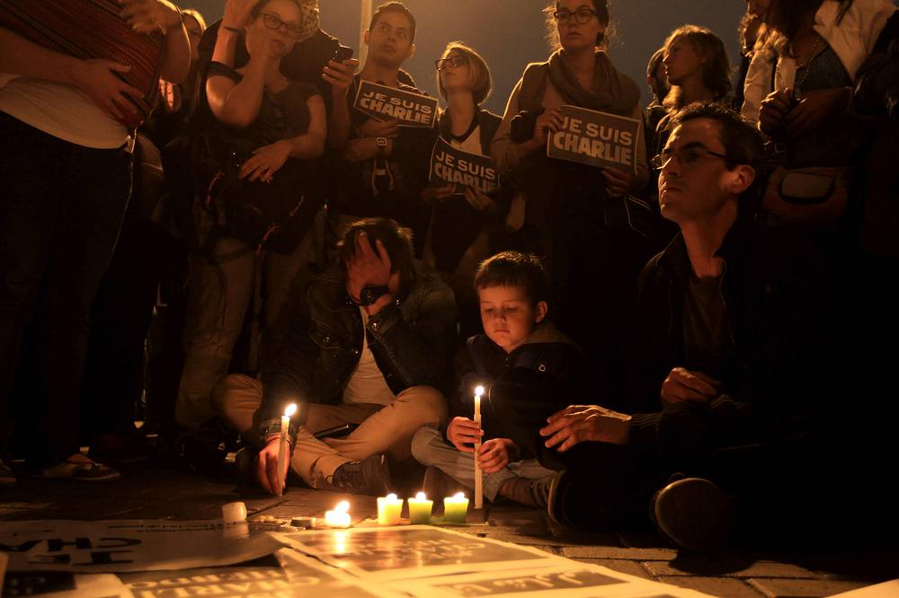 A vigil for the killed people of the Paris Charlie Hebdo headquarters terror attack, in Lima, Peru