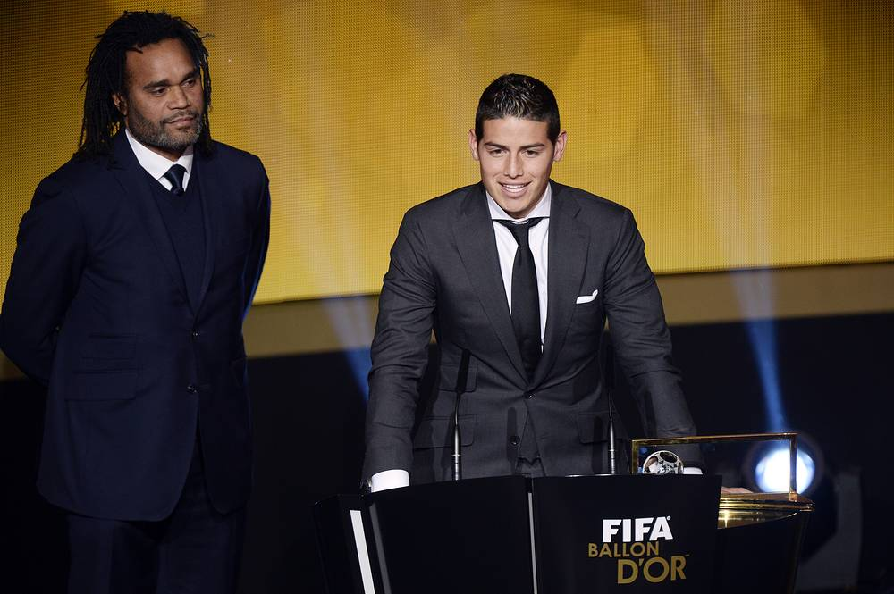 James Rodriguez (right) of Colombia received the FIFA Puskas Award 2014 for the best goal of the year