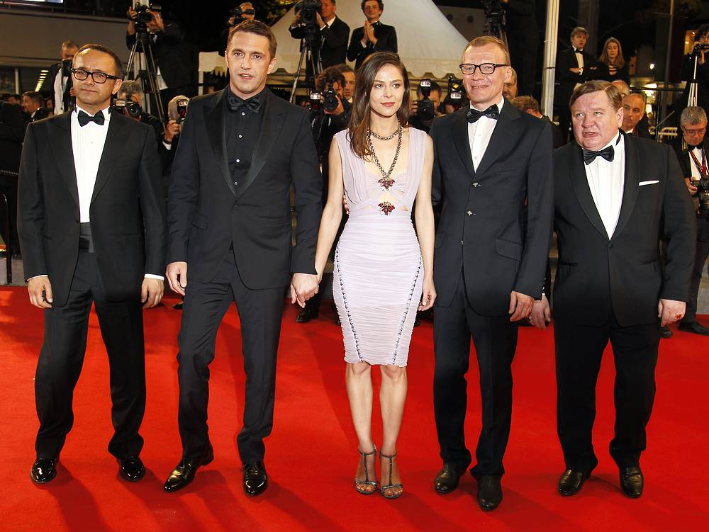 The movie premiered at the 2014 Cannes Film Festival. Photo: Russian director Andrey Zvyagintsev, actor Vladimir Vdovichenkov, actress Elena Lyadova, actors Aleksei Serebryakov and Roman Madianov