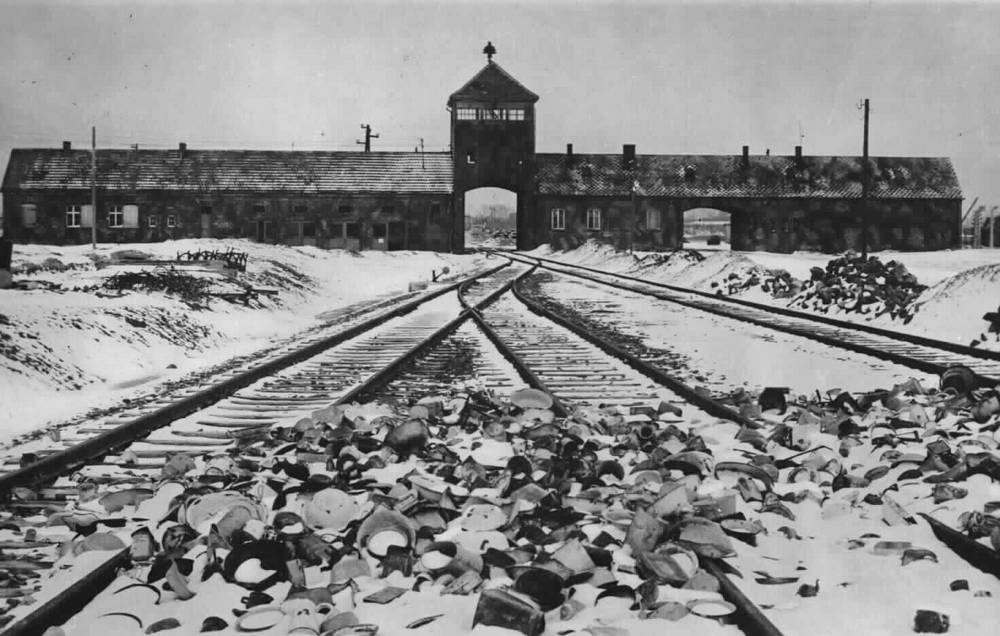 Gate tower, ramp and railway line at the Auschwitz-Birkenau Nazi death camp