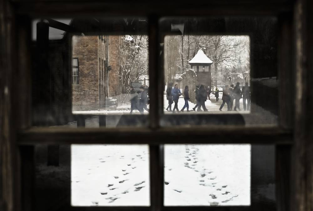 Visitors at the Auschwitz Nazi death camp in Poland, Monday, 2015