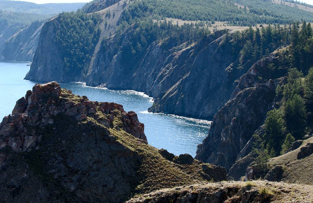 In 2014 for the first time over the past 60 years the water level in Baikal dropped by 40 centimeters to almost a critical level — 456.09 meters against 456 meters believed a critical point. Photo: Shuntae Cape on Baikal's Olkhon island