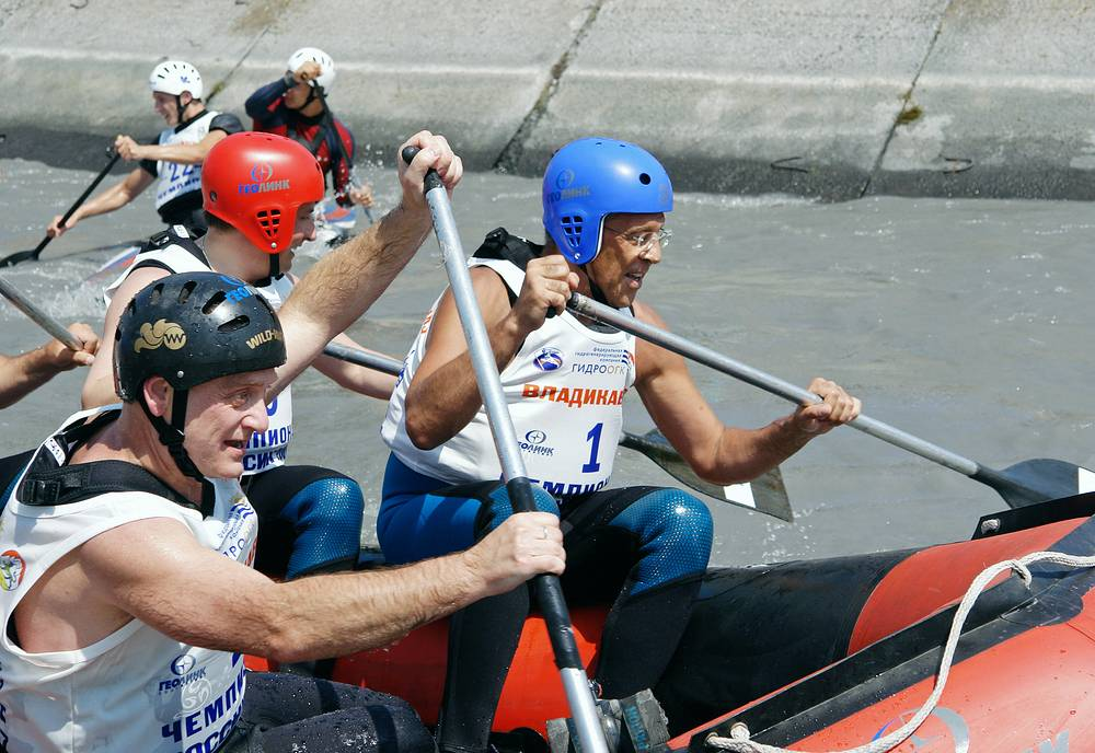Photo: Russian Foreign Minister, President of the Rowing Federation of Russia Sergei Lavrov during the opening of the Cup of Russia on a rowing slalom
