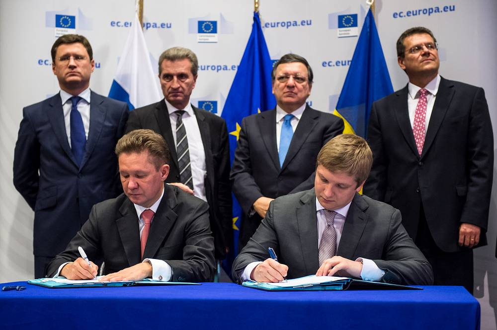 Another round of Russia-Ukraine-EU gas talks on 30 October 2014 lasted nearly 12 hours and ended without result. Photo: Gazprom CEO Alexey Miller, Naftogaz CEO Andriy Kobolev, Russian Energy Minister Alexander Novak, EU Commissioner for Energy Guenther Oettinger, EU Commission President Jose Manuel Barroso and EU Commissioner for Inter-Institutional Relations and Administration Maros Sefcovic at the European Commission headquarters in Brussels, October 30, 2014